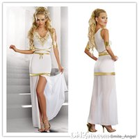aphrodite goddess - Goddess Of Love Aphrodite Costume White V Neck Cosplay Sexy Halloween Costumes Greek Goddess Dresses With Gold Armbands By DHL Hot Selling