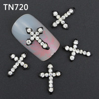 Wholesale Glitter d Cross Nail Art Decorations with Rhinestones Alloy Nail Charms Jewelry for Nail Tools Suppliers TN720