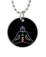 animal chakras - YOGA MEDITATION CHAKRAS Customized Colorful Design round Dog Tag Necklace Aluminum Tag for Animal Pets Tag