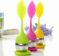 Wholesale Silicone tea infuser Leaf Silicone Tea Infuser with Food Grade make tea bag filter creative Stainless Steel Tea Strainers DHL