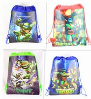 Wholesale 2015 New Children Backpack Teenage Mutant Ninja Turtles Drawstring Backpacks Printed School Bags Non woven Bag