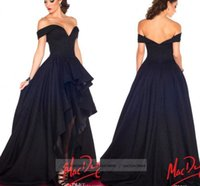 india - 2015 Evening Prom Dresses Off Shoulder Navy Blue Sexy Hi Lo Red Carpet Celebrity Party Gowns India Arabic Myriam Fares Cheap