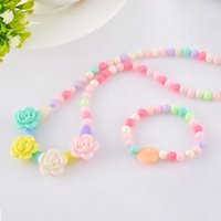 beaded bracelet craft - Handmade Acrylic Beaded Necklace Bracelet Jewelry Set For Children Gift Collocation Stretching Ellipse Necklace Bracelet Crafts
