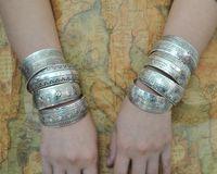 Wholesale 2015 Hot European American Tibetan Ethnic Vintage Antique Silver Cuff Bangles Bracelets