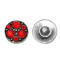 Wholesale Fashion Snap Button Round Antique Silver Fit Fashion Bracelets Red Rhinestone mm Dia Knob Size mm new
