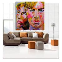 100% peints à la main Images abstraites de portrait Peintures à l'huile Art moderne abstrait Colorful Wall Pictures Fashion Couple Home Decor