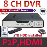 Cheap Built in 2TB Hard Drive cctv Video Surveillance DVR Recorder 8 Ch Plug N Play P2P Cloud with HDMI 1080P H.264