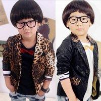 boys brown suit - Fashion Baby Boys Suit Coat Leopard Printed Korean Children Lapel Child Outwears Spring Autumn Kids Button Party Clothes Black Brown L1509