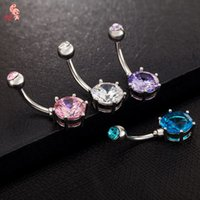 Wholesale Multi Color Zircon Hypoallergenic Steel Navel Ring Belly Button Piercing Fashion Navel Jewelry b6 dlbb