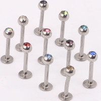 Wholesale Labret ring L06 mix color steel crystal lip ring lip bar labret stud biody jewelry