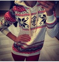 Wholesale 2015 fashion Women Pullover hoodie christmas Jumper sweater sweatshirt Blouse Tops