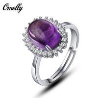 Anillo del cristal de la piedra preciosa amatista genuina pavimentada 925 anillos de plata esterlina de la banda de lujo para la joyería del partido de un tiro ajustable tamaño del anillo de la Mujer