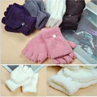Wholesale Hot sale fashion Winter Multifunctional Semi finger Coral Fleece Flip Thermal Gloves drop Shipping
