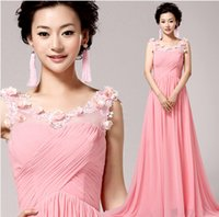 Cheap pink chiffon mermaid Prom Dresses 2015 fashion appliques flower girl party dress . plus size dresses under $50 .5932