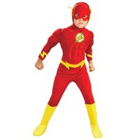 Wholesale The flash Muscle Kids DC comic Superhero fancy dress fantasia halloween costumes disfraces for child boy s cosplay clothing