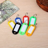 Wholesale YIYUAN Assorted Colors Key ID Tags Ring Keyring Keychain with Label Window Orange Black Blue Green Yellow Red and White DHL Free