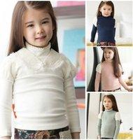 Inverno nuovo modo neonate ispessisce Collo maglietta 2014 Maniche Lunghe bambini magliette decorate con perle