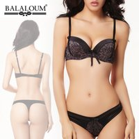 Wholesale Fashion balaloum thin thick comfortable sexy push up bra underwear set BC CUP