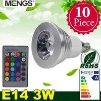 Compra El cambio de color llevó los proyectores-MENGS 10Pcs por el paquete E14 3W LED RGB 16 colores que cambian SMD LEDs Bombilla de proyector del LED con el IR - multicolor Dimmable
