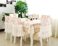 Wholesale Wedding European textile dining lace tablecloths chair cushion cover furniture sets home decoration