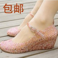 Wholesale Summer shoes wedges sandals high heels women shoes glass slipper jelly shoe