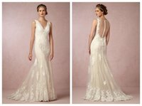 Cheap Vintage Lace Summer Beach Wedding Dresses 2015 Mermaid Backless V Neck Grecian Style Goddess Garden Bridal Gowns DH06