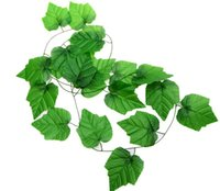 Wholesale Artificial flowers simulation rattan vine leaf decorative ceiling plastic flower vine grape leaf green plant leaves Wall