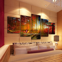 art painting - 5 Panel Forest Painting Canvas Wall Art Picture Home Decoration Living Room Canvas Print Modern Painting Large Canvas Art Cheap