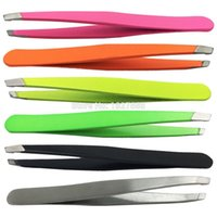Wholesale new Stainless Steel Tweezers for Hair Eyebrow Plucker Puller Beauty Nail Slanted Tip