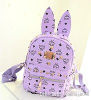 Wholesale The new MCM The rabbit ears backpack handbag fashion students travel travel bag w088 high quality durable