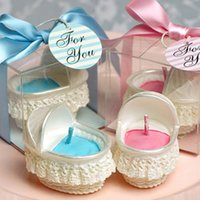 baby bassinet baskets - Cute baby shower birthday party decorative candlec baby carriage Bassinet Basket cradle shaped smookless candle party supplies