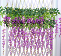 artificial christmas wreath - Silk Flower Artificial Flower Wisteria Wreaths Vine Rattan For christmas Home Garden Hotel Wedding Party Decoration cm cm