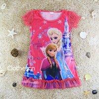 nighties - Frozen Pyjamas Elsa Nightgown For Girls Anna Frozen princess short sleeve Sleepsuit For Girl s Frozen Nightie
