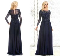 Wholesale 2016 Bateau Long Sleeves Mother s Dresses Cheap Appliques Bead Fall Winter Mother Of The Bride Dresses Backless Evening Gowns