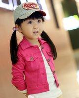 Girl ashion clothes - Autumn Fashion girls Wash denim jacket ashion short coat children candy color cotton clothes