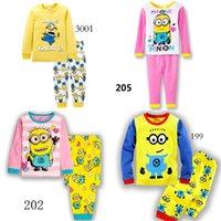 Wholesale 2015 minion cotton Despicable Me Pyjamas Long sleeve Boy Baby Pajamas Suit Baby Suit Pants t shirts Pyjamas Sets sleepwear