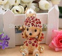 aqua gift bags - 2014 New Rhinestone Cartoon Dog Keyrings High Grade K Gold Plated Car Bag Key Ring Chain Beautiful Gift
