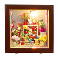 Wholesale Hot Sale Romantic Flower Shop DIY Wood Dollhouse Miniature Kids Chilren Girls Educational Toy Christmas Birthday Gift