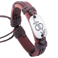 leather charm bracelet - New infinity leather bracelets cm hademade woven leather alloy heart to heart lovers leather charm bracelets man jewelry package sales