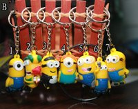Wholesale New Movie Minion Action Figures Keychain Keyring Key Ring Card Package Lovely D Despicable Me Minion Dolls Kids Christmas Promotion Gift