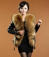 Wholesale 2014 Autumn Winter Big Raccon Fur Collar Jacket Women s Faux Sheep Fur Spliced Genuine Leather JacketAutumn Winter