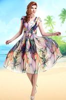 Wholesale Plus Size Bohemian Printed Chiffon Women Dresses Summer Dress V Neck Short Sleeve Full skirted Midi Dresses Vestido OXL081710