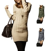 cotton tunic - S5Q Women s Slim Warm Winter Knit Sweater Lady Long Sleeve Fit Stretch Top Tunic Knitted garments AAAEBZ