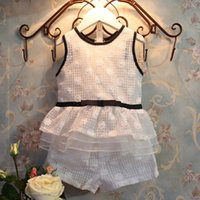 Wholesale Best Suits Child Clothes Kids Clothing Ruffle Summer Tank Tops Lace Flower White Shorts Girl Dress Children Set Kids Suit Outfits C6148