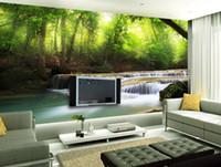 Wholesale Custom photo wallpaper Large D sofa TV background wallpaper mural wall Forest waterfall stream d mural wallpaper