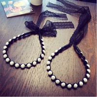 Wholesale Korean ladies wind pearl straps wrapped lace ribbon bow hair bands issuing headband hair band hair accessories women