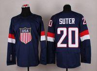 Cheap 2014 Sochi Olympic Team USA Hockey Jersey #20 Ryan Suter Navy Blue Ice Hockey Jerseys