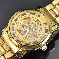 al por mayor reloj esquelético de la moda para hombre-Vestido reloj de Mens mecánico esquelético del oro de acero sin asistencia, hombres / mujeres Ganador reloj de la manera original de la marca