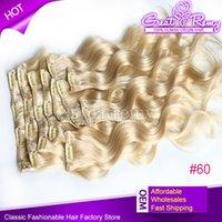 Multiplican los colores de las extensiones virginales llenas principales del pelo humano del clip de los colores 2-3 120g / set clip de la onda del cuerpo 18inch # 60 en extensión del pelo