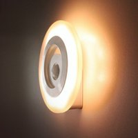 Wholesale Novel Round Shaped Led Wireless lamps Stick on Anywhere with battery power Human Body thermal Motion Sensor Control Night Light Yellow